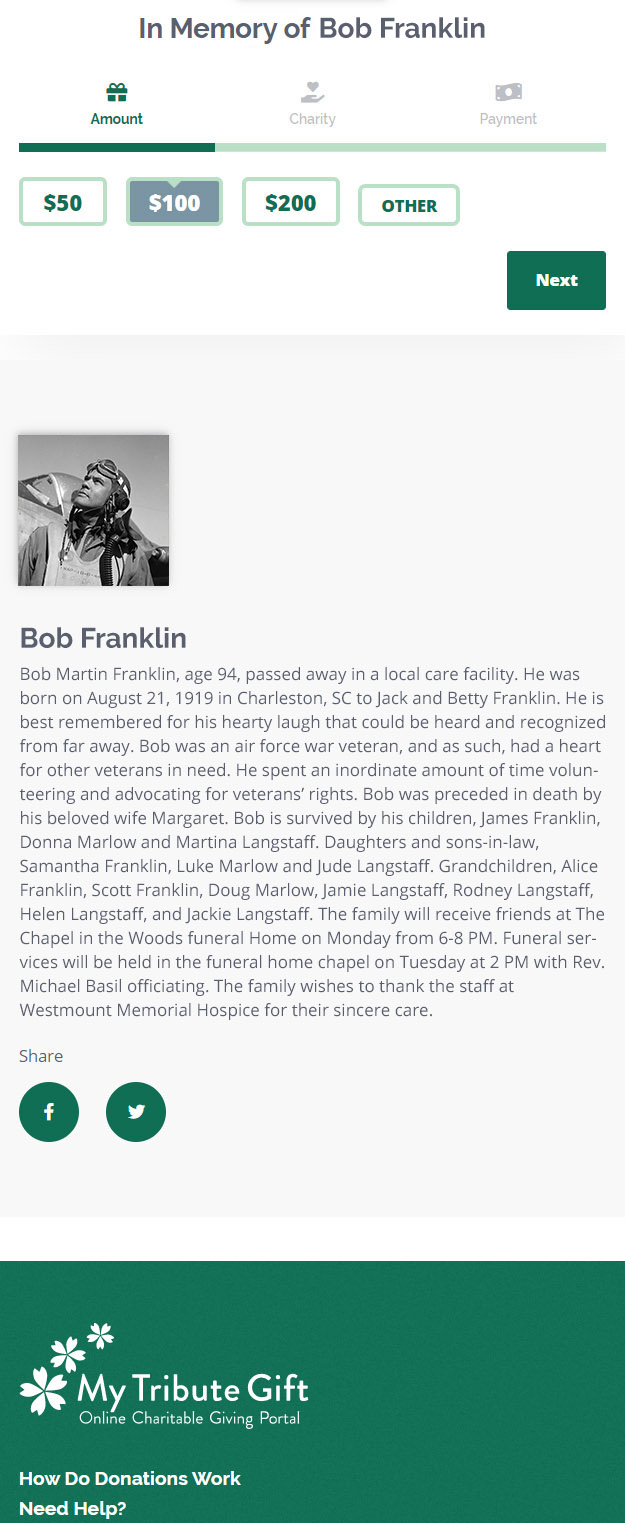 obituary in mobile view